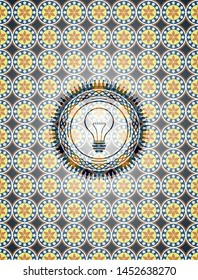 idea icon inside arabic badge. Arabesque decoration.