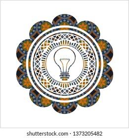 idea icon inside arabic emblem background. Arabesque decoration.