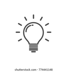 Idea icon, light bulb with rays, linear vector simple trendy icon