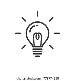Idea icon, light bulb shining pictogram