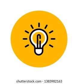 Idea icon, linear shining lamp illustration. light bulb pictogram.