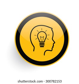 Idea icon on yellow button background,clean vector