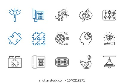 idea icons set. Collection of idea with lamp, swan, vision, telephone, web plugin, bulb, target, puzzle, components, brainstorming, startup. Editable and scalable idea icons.