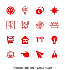 idea icons set with lightbulb filled tool, leaf and team vector set