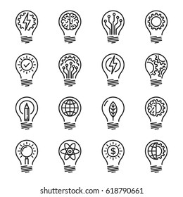 Idea intelligence creativity knowledge thin line icon set. Editable stroke.
