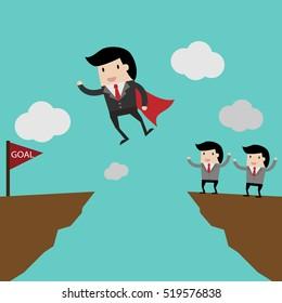 idea  for investment concept,cartoon businessman jump through the gap. cartoon vector illustration for business design