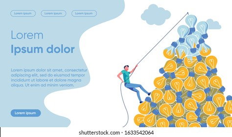 Idea Irrelevance Flat Landing Page Vector Template. Innovative Progress, Rapid Relevance Loss, Old Ideas Replacement Metaphor. Man on Lightbulbs Bunch Faceless Character. Innovation Homepage Layout