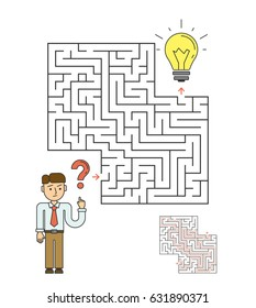 Idea labyrinth concept. Businessman tries to find the idea in the maze.
