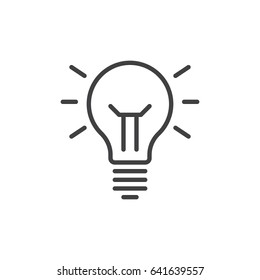Idea lamp line icon, outline vector sign, linear style pictogram isolated on white. Symbol, logo illustration. Editable stroke. Pixel perfect