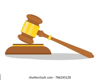 The idea of the law is a wooden gavel of the judge. Icon hammer of the judge, auction hammer. Vector illustration in a flat style.
