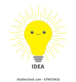 Idea light bulb icon with happy face. Shining line round effect. Cute cartoon character. Yellow color switch on. Business concept. Flat design. White background Isolated Vector illustration