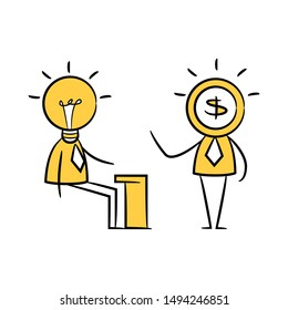 idea man and dollar man, idea and fund concept yellow stick figure
