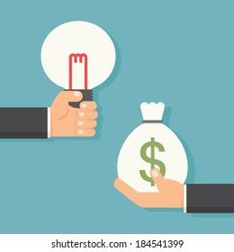 Idea to money, vector
