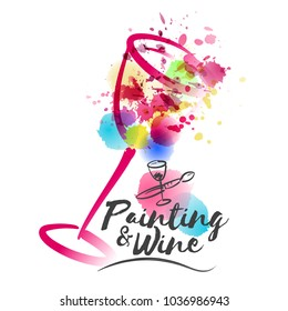 Idea for painting and wine event promotion. Illustration of wine glass and colorful spots. Art and wine. Hand drawn icons of brush and cup. Vector watercolor paint and stains.