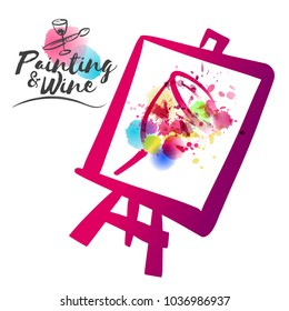 idea for painting and wine social event. Illustration of cup with stains of watercolor and paint colors. Illustration framed in cloth and easel. Brush and cup icons.