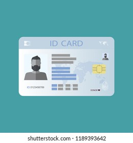 The idea of personal identity. ID card, identification card, drivers license, identity verification, person data. Modern vector illustration in a flat style.
