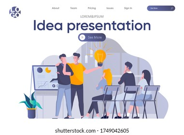 Idea presentation landing page with header. Startup team making presentation new great idea before investor in office scene. Pitching startup, coworking and teamwork situation flat vector illustration
