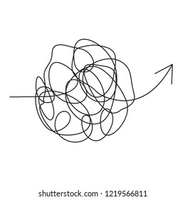 Idea process. Complicated way. Mess or chaos icon. Pass the way linear arrow up with clew (tangle ball) in center. Messy line. Doodle knot ball. Insanely busy brain