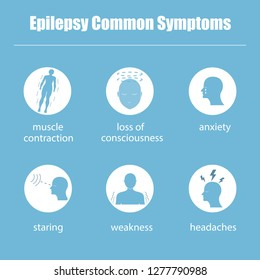 The idea of a project of information about the symptoms of epilepsy. Vector illustration. Flat style.