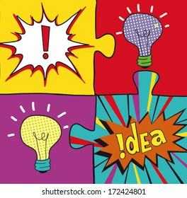 Idea puzzles in Pop art style. Creative light bulbs.  Concept background design