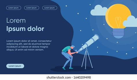 Idea Research Flat Landing Page Vector Template. Dream, Unachievable Goal Metaphor. Man Looking through Telescope Faceless Character. Creativity, Idea Learning and Observation Homepage Layout