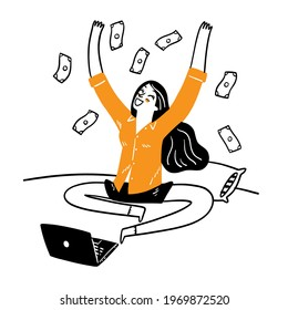 The idea of running a successful online business and riches, Hand draw Vector illustration doodle style
