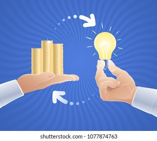 Idea For Sale. Vector illustration on the subject of 'Creativeness in Business'.