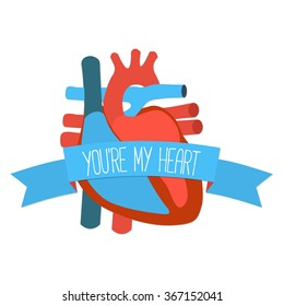 Idea for San Valentine  gift card. Flat design icon of human heart with ribbon and greeting. Vector illustration.
