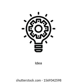 Idea settings icon vector illustration black linear on white background