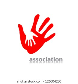 idea of the sign for the association of care - hand in hand. vector