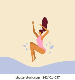 Idea for summer poster. Beautiful young girl fun jumping into the pool. Fun summertime on the beach. Female character. Vector cartoon illustration, flat design, isolated