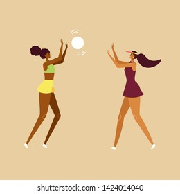 Idea for summer poster. Beautiful young girls playing volleyball on the beach. Female fun character. Vector cartoon illustration, flat design, isolated