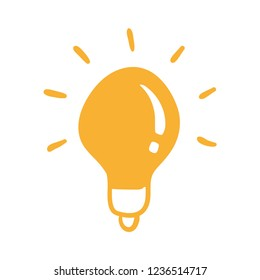Idea symbol, light bulb doodle. Hand drawn vector illustration.