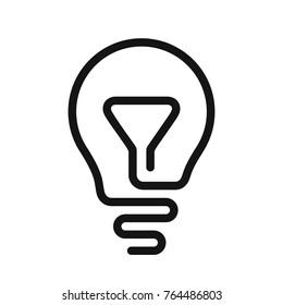 Idea symbol, Light bulb icon, one line vector illustration isolated on white background