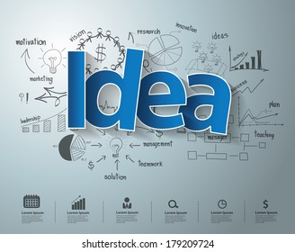 Idea text, With creative drawing charts and graphs business success strategy plan idea, Inspiration concept modern design template workflow layout, diagram, step up options, Vector illustration