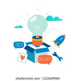 Idea, thinking outside the box, content development, brainstorming, creativity, project and research, creative soutions, learning flat design for mobile and web graphics vector illustration