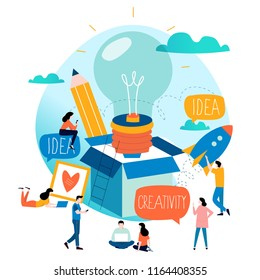 Idea, thinking outside the box, content development, brainstorming, creativity, project and research, creative soutions, learning,education flat design for mobile and web graphics vector illustration