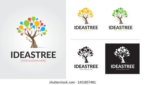 Idea tree creative and minimal logo template