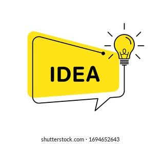 Idea vector banner light bulb and speech bubble. Vector isolated illustration. Idea concept illustration. Creative idea vector design. Lamp idea design. EPS 10