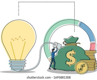 Idea vector concept with male figure connecting the big light bulb to his money, isolated in white background with business pie chart