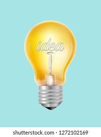Idea vitage realistic lamp illustration in vector graphics