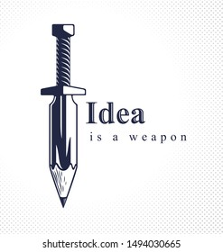 Idea is a weapon concept, weapon of a designer or artist allegory shown as sword with pencil instead of blade, creative power, vector logo or icon.
