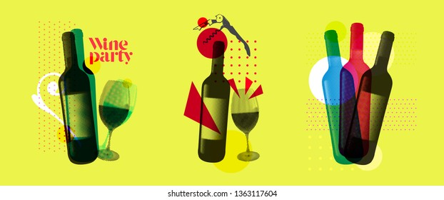 Idea for wine event. Illustration of bottle and wine glass with dotted pattern, retro 80s style, bright colors, pop art. For brochures, posters, invitations or banners. Vector.