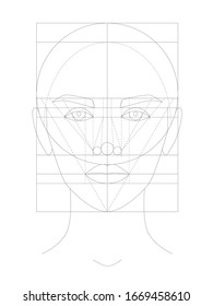 Ideal facial proportions. The golden ratio of a beautiful face. Beauty of women. Face chart. Fashion portrait. Beautiful model for make up artist. Make up and visage. Line art. Outline template.