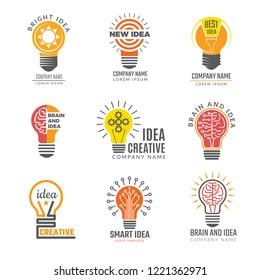 Ideas bulb logotypes. Colorful creative lamp shape smart symbols powerful vector logotypes. Illustration of bulb idea logotype, intelligence brain badge