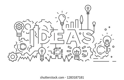 Ideas Concept. Typography and Line Art Design. Thin Line Design Vector. Black And White Doodle. Geometric Lines. Content Creativity. Bussines Banner, Background, or Landing Page