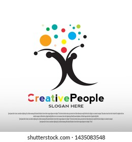 ideas creative people logo design with abstract person concept. children dreams. playground. can use for education school sign or symbol or business icon. vector illustration element