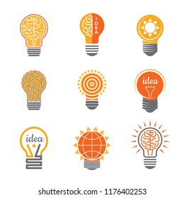 Ideas lamp logo. Electronics light energy bulb bright orange yellow electrician business creative symbols vector logotypes template. Illustration of lamp idea, energy light bulb symbol