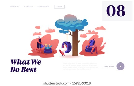 Ideas for Reuse Old Car Tyres Website Landing Page. Male and Female Characters Using Tires for Making Garden Flower Bed, Swing and Chair for Relaxing Web Page Banner. Cartoon Flat Vector Illustration