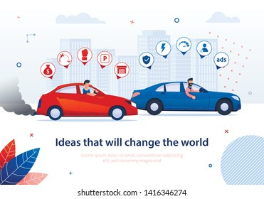 Ideas that will Change World. Petrol Engine Car Electric Automobile Comparison Vector Illustration. Gasoline Auto Disadvantage. Ecological Transport Advantage. Environment Protection